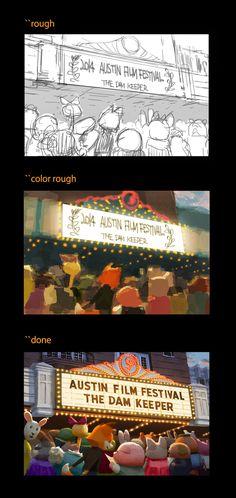 YoshiHiro Nagasuna  まず線画でラフ、その次に色のラフ、そして完成です。  以前は色つきでもっと精度の高いラフを描いてそのまま完成までいっていました。というのもこれまで線画を描いた経験が少なかったので、そのままブラシで色を置く方がイメージを作りやすいし早いと思っていたのです。    しかし最近漫画家の先生のところで修行をさせていただき、線画への抵抗が無くなったので試してみたところ、こちらの方が良いイメージを作りやすいとわかりました。偉大な先人たちのやっていることには理由がありますねやはり。    というわけで最近は線画でラフを描いています。  それと同時にどんどん漫画のペン入れの精度も上がってきました。  まだまだ成長できそうです!