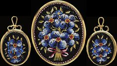 Micro-mosaic brooch and earrings set, c. 1870.