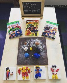 Myers' Kindergarten: What We Learned By Investigating Superheroes: Part 1 Kindergarten Classroom Door, Kindergarten Inquiry, Superhero Kindergarten, Nursery Activities, Preschool Activities, Super Hero Activities, Preschool Art, Superhero Classroom Theme, Classroom Themes