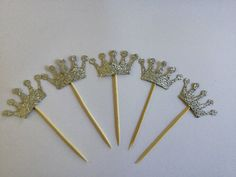 Princess Crown Birthday Party cupcake Toppers by AliceAnnLondon