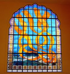 Stained glass window Gurdwara Southall