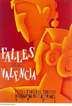 Cartel Fallas de Valencia 1995. Diseño: Marisa Llongo Calabuig.