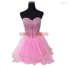 Pink Short Homecoming Dress,Pink Evening Dress With Beadings