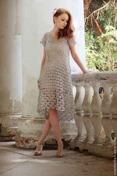 """Вязаное платье """"Зефир"""" - серый,платье вязаное,Платье нарядное,платье на выход"""