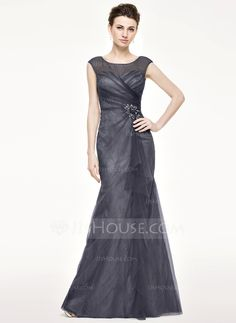 Trumpet/Mermaid Scoop Neck Floor-Length Tulle Lace Mother of the Bride Dress With Beading Flower(s) Sequins Cascading Ruffles (008062539) - JJsHouse