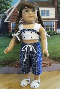 """American Girl 18"""" Doll 1944 pedal pushers and top by Keepersdollyduds. Inspiration."""