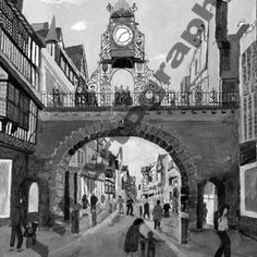 Eastgate Clock from Foregate St. B&W by Jill Pears, using a different take on my original painting