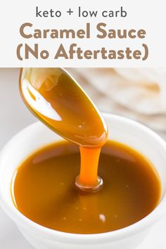 Keto caramel sauce made easily with 3 simple ingredients. No aftertaste at all , you won't know it's sugar-free! Sweetened with allulose but with the option for monk fruit, stevia or erythritol. Keto Cookies, Sugar Free Cookies, Chip Cookies, Low Carb Desserts, Low Carb Recipes, Diet Recipes, Diet Meals, Stevia Desserts, Dessert Recipes