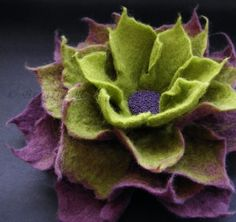Felted flower by Kensia...wicked  Love the color combo