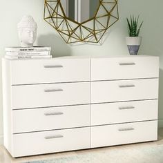 Gracie Oaks Quast 8 Drawer Double Dresser with Mirror Vanity Set With Mirror, Dresser With Mirror, Glass Vanity, 8 Drawer Dresser, Low Dresser, Malm Dresser, Dresser Ideas, Double Dresser, Upholstered Platform Bed