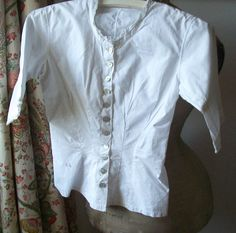 Vintage French Cotton Shirt Victorian Blouse tuck waist bodice handmade lace trim pearl buttons