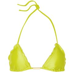 Vix Ripple triangle bikini top ($53) ❤ liked on Polyvore featuring swimwear, bikinis, bikini tops, lime green, lime green bikini, vix bikini, swimsuit tops, ruffle tankini top and swim tops