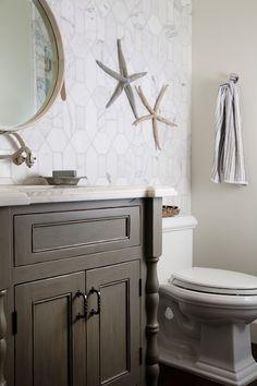 Calacata Marble, Cottage, bathroom, Darci Goodman Design