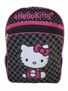 57a28dc35fdb Hello kitty black polka dots and checked light up 16 inch backpack. Hello  Kitty Backpacks
