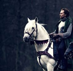 Hiddles on a white horse
