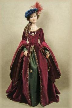 A historically inspired doll of Anne Boleyn, Queen of England. By antiquelilac.com