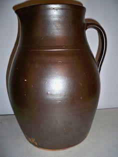 19th C. Glazed Pennsylvania Redware Pitcher 2 Gallon