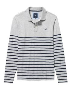 Men's Marlow Breton Polo in Mid Grey Marl/Navy from Crew Clothing