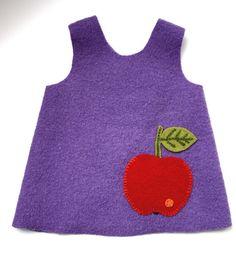 boiled wool apron with embroidered apple pocket - toddler size http://de.dawanda.com/product/13833998-Lila-Schuerzenkleid-Apfeltasche-aus-100-Wollwalk
