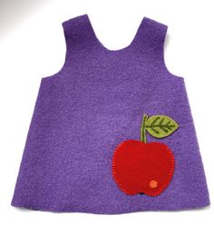 boiled wool apron with embroidered apple pocket - toddler size http://de.dawanda.com/product/13833998-Lila-Schuerzenkleid-Apfeltasche-aus-100-Wollwalk