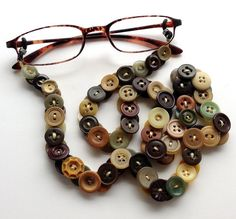 Eyeglass Chain in Vintage Buttons Browns with Green by MRSButtons, $32.00