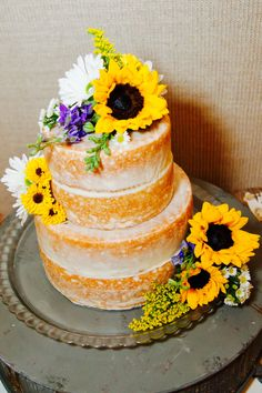 "Rustic ""Naked"" Sunflower Wedding Cake"