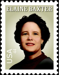 Stamp with a picture of my aunt rendered in Illustrator.