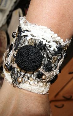 Cool vintage buttons 'n' lace! Fabric Bracelets, Lace Bracelet, Cuff Bracelets, Vintage Buttons, Vintage Lace, Lace Cuffs, Recycled Fabric, Rings For Men, Shabby Chic