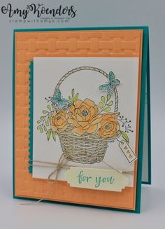 I used the Stampin' Up! Blossoming Basket stamp set bundle that will be available beginning on February 16 as a free Sale-a-bration selection to create my card for the Happy Inkin' Thursday Blog Ho…