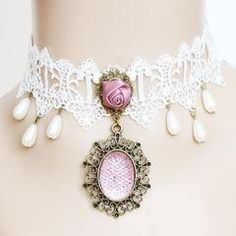 TOOGOO(R) White Princess Lace Fake Collar Necklace Women 'S Clothing Accessories Halloween Decorations Wedding Jewelry Cosplay Decoration Vampire Decoration Lace Necklace, Short Necklace, Collar Necklace, Necklace Lengths, Choker Necklaces, Diamond Necklaces, White Lace Choker, Rose Choker, Bling Choker