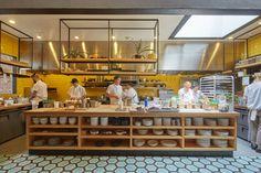 Evoking The Aloha Spirit At San Francisco's Liholiho Yacht Club - Food Republic Open Kitchen Restaurant, Bakery Kitchen, Big Kitchen, Test Kitchen, Restaurant Bar, Yellow Restaurant, Kitchen Design Open, Commercial Kitchen Design, Yellow Tile