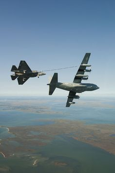 F-35C Refueling from a modified C-130 Hercules by Lockheed Martin