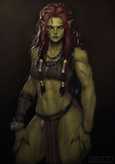 Orc Girl by ➕ V L T V G R I N ➕ (@vltvgrin) / Твиттер Orc Warrior, Fantasy Warrior, Fantasy Rpg, Fantasy Artwork, Dark Fantasy, Fantasy Girl, Fantasy Races, Fantasy Women, Dungeons And Dragons Characters