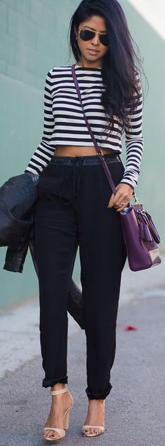 Timeless Striped Crop Top by Walk In Wanderland + plus black, banded hem pants + nude or black heels