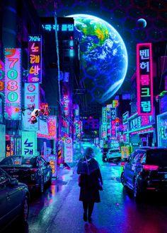Cyberpunk poster prints by Cyberpunk 2077 Cyberpunk City, Cyberpunk Aesthetic, Arte Cyberpunk, Futuristic City, Purple Aesthetic, Aesthetic Art, Aesthetic Pictures, Cyberpunk 2077, Futuristic Architecture