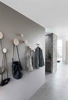 Grey walls and Muuto dots in the hallway. Read More by muuto. Grey walls and Muuto dots in the hallway. Hallway Inspiration, Interior Inspiration, Hallway Ideas, Corridor Ideas, Hallway Designs, Feng Shui Apartment, Decoration Hall, Flur Design, Interior And Exterior