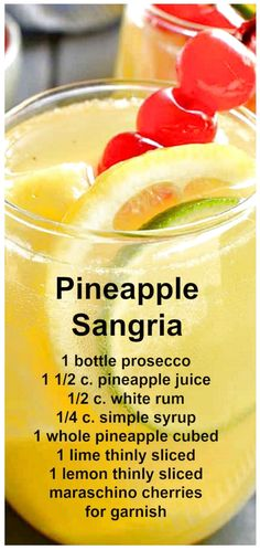 This Pineapple Sangria made with prosecco, pineapple juice, and white rum is sweet, refreshing, and perfect for summer parties! Refreshing Drinks, Yummy Drinks, Alcohol Drink Recipes, Rum Punch Recipes, Margarita Recipes, Fancy Drinks, Happy Hour, Cocktail Recipes, White Sangria Recipes