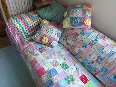 quilt and crochet covered sofa beauty at patchwork and lace