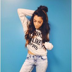 """Niki DeMartino on Instagram: """"You can't read my shirt but it says """"I... ❤ liked on Polyvore featuring tops, t-shirts, blue top, blue tee, blue t shirt, shirts & tops y blue shirt"""