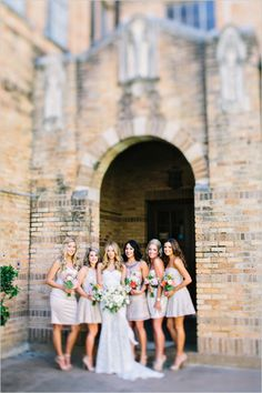 Mismatched champagne bridesmaid dresses