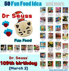 50 Fun Food Idea for Dr Seuss' 109th Birthday on Mar 2  #bento #lunch