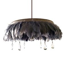 feather chandelier with chains