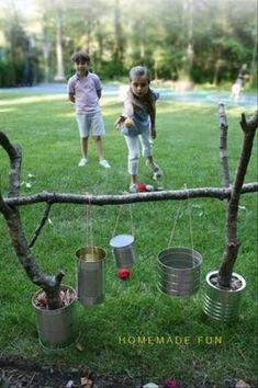 Backyard Party Games, Fun Outdoor Games, Outdoor Crafts, Outdoor Ideas, Backyard Ideas, Tin Can Crafts, Diy Crafts For Kids, Children Crafts, Backyard Playground