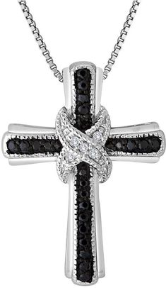 FINE JEWELRY 1/10 CT. T.W. White and Color-Enhanced Black Diamond Cross Pendant Necklace