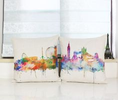 Watercolor Painting London/Paris City Map  Throw Pillow Case Cushion Covers - Home Decor - www.taccitygoods.com - 4