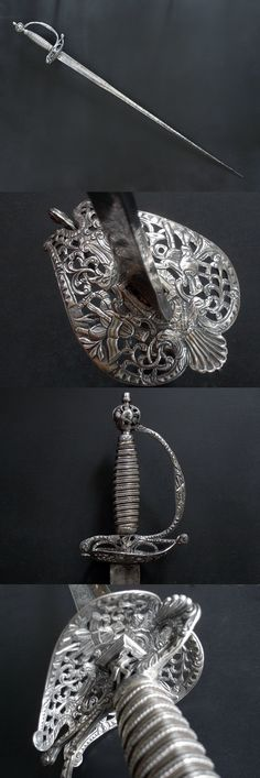 A remarkable century English silver hilted small sword Swords And Daggers, Knives And Swords, Small Sword, Cool Swords, Sword Design, Sword Fight, Medieval Weapons, Arm Armor, Fantasy Weapons
