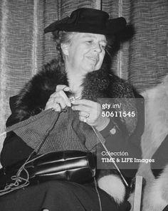 Eleanor Roosevelt. Always took along her knitting :-)