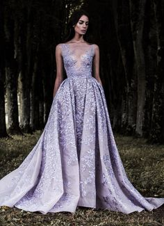 2017 Paolo Sebastian Lavender Lace Prom Dresses Sheer Plunging Neckline Appliqued Evening Gowns Tulle See Through Backless Formal Dress Elegant Dresses, Pretty Dresses, Formal Dresses, Formal Prom, Colored Wedding Dresses, Bridal Dresses, Couture Dresses, Haute Couture Gowns, Couture Bridal