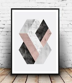 Abstract wall art, geometric pritn, Watercolor print, Scandinavian art, marble decor, hexagon decal, minimalist poster, home decor, elegant