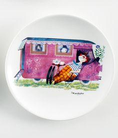 "Køb By MIMI'S CIRCUS: Cirkus stel i keramik - 1 x Tallerken ""Circus trailer"" her - Mimi´s Circus"